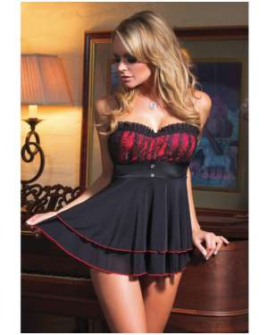 Coquette Lycra and Mesh Babydoll with Padded Cups and G-String