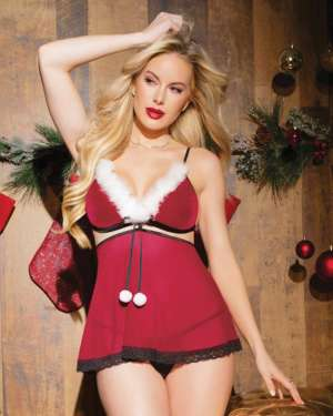 Coquette Holiday Velvet and Mesh Convertible Babydoll with Removable Skirt