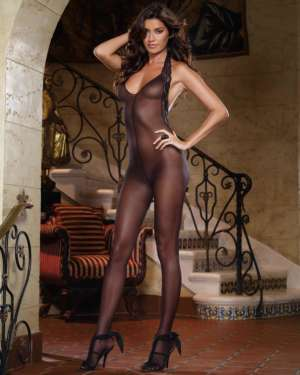 Dreamgirl Sheer Halter Lace Trim with Low Back Bodystocking