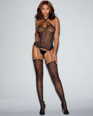 Dreamgirl Fishnet Lace Snap Neck Closure Bustier Bodystocking