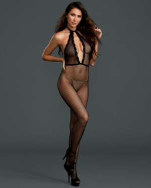 Dreamgirl Fishnet Plunging Halter Open Back Crotchless Bodystocking