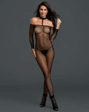 Dreamgirl Fishnet Off the Shoulder Collared Crotchless Bodystocking
