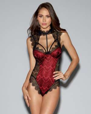 Dreamgirl Lace Overlay Strappy Collared Stretch-Satin Teddy with Underwire Cups