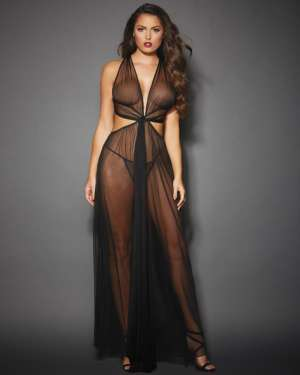 Dreamgirl Sheer Mesh Gown with Cut Out Sides, Back Ties, and G-String