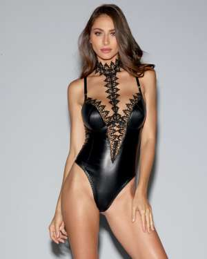 Dreamgirl Faux-Leather Plunging Teddy with Venice Lace and Underwire Cups