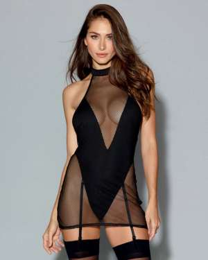 Dreamgirl Two-Layer Fishnet Halter Chemise with Attached Teddy
