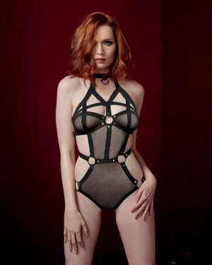 Dreamgirl Fetish Stretch Fishnet Strappy Collared Studded Open Back Teddy