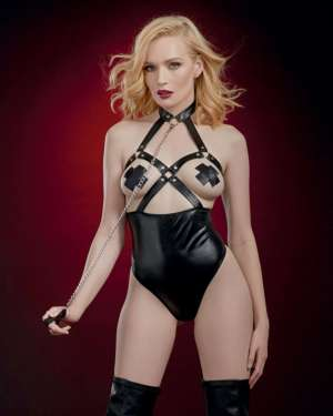 Dreamgirl Fetish Open Cup Collared Studded Teddy with Leash