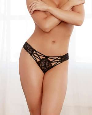 Dreamgirl Stretch Lace Panty with Elastic Criss Cross Detail