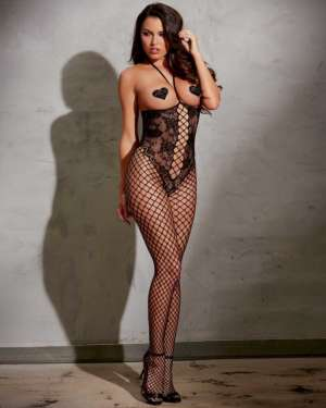 Dreamgirl Open Cup Crotchless Fishnet with Knitted Lace Halter Bodystocking