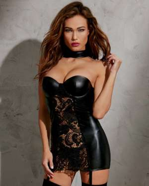 Dreamgirl Stretch Knit Mesh and Lace Collared Chemise with Underwire Molded Cups