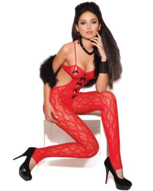 Elegant Moments Vivace Lace Bodystocking with Open Crotch and Satin Bow Detail