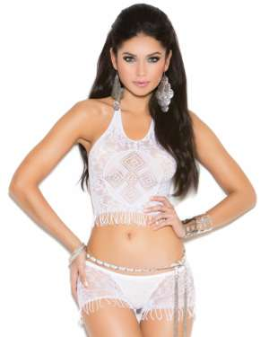 Elegant Moments Vivace Crochet Cami Top and Matching Booty Shorts with Fringe Trim