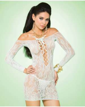 Elegant Moments Vivace Long Sleeve Off-the-Shoulder Lace Mini Dress with Lace Up Front