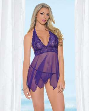 Escante Halter Tie Lace Overlay Top Babydoll with G-String