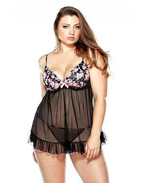 Curve Pushup Floral Print Babydoll with G-String (Clearance)