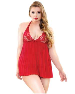 Curve Valerie Pleated Halter Lace Cup Babydoll with G-String