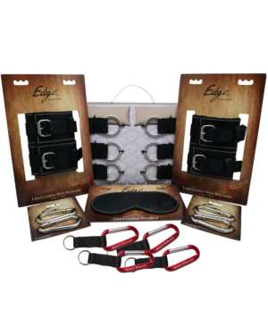 [Naughty Bundle Box] Sportsheets Edge Bed Restraints with Leather Cuffs and Blindfold Bundle