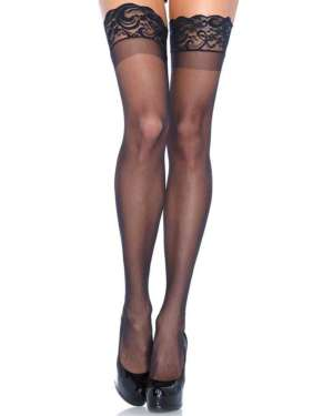 Leg Avenue Stay Up Lace Top Sheer Thigh Highs