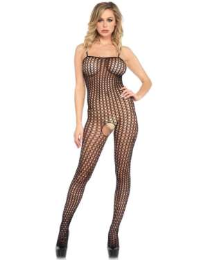 Leg Avenue Seamless Crochet Net Spaghetti Strap Bodystocking