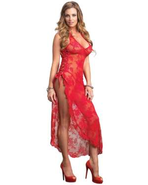 Leg Avenue Rose Lace High Slit Long Dress with G-String