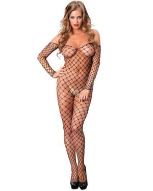 Leg Avenue Fence Net Off the Shoulder Open Rear Bodystocking