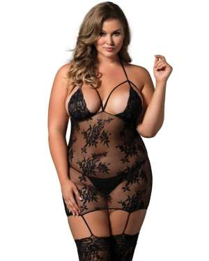 Leg Avenue Halter Lace Cage Strap Suspender Bodystocking