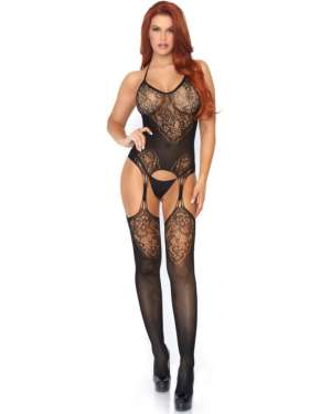 Leg Avenue Halter Lace Jacquard Suspender Bodystocking