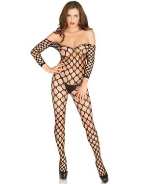 Leg Avenue Off The Shoulder Ring Net Bodystocking