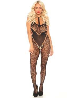Leg Avenue Harness Halter Floral Lace Side Cutouts Bodystocking