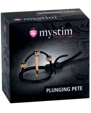 Mystim Plunging Pete Corona Strap with 24K Gold-Plated Balls and Urethral Sound