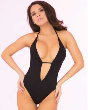 Pink Lipstick Shameless Seamless Plunging Strappy Back Teddy