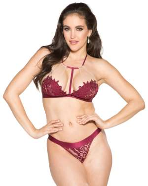 Shirley of Hollywood T-Front Floral Applique Bra and Panty Set