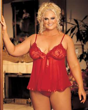 Shirley of Hollywood Intimate Attitudes Sequin Embroidered Sheer Babydoll with Ribbon Hem and G-String Set