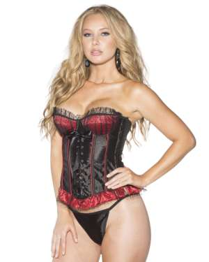 Shirley Of Hollywood Mesh Overlay Polka Dot Over Stripe Corset with Lace Up Front and G-String Set