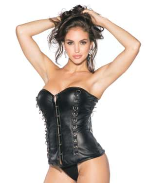 Shirley Of Hollywood Pleather Bustier with Padded Cups, Front Closure and D-Rings