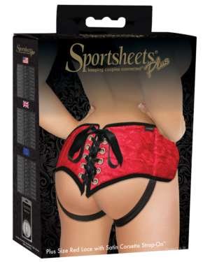 Sportsheets Plus Size Red Lace with Satin Strap On Harness Style #52