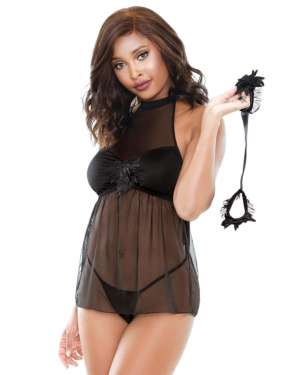 Fantasy Lingerie Belladonna Mesh and Applique Babydoll, Handcuffs, and G-String Set