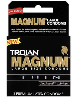 Trojan Magnum Thin Latex Lubricated Condoms Box of 3