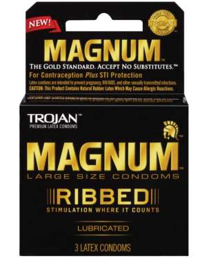 Trojan Magnum Ribbed Textured Large Size Lubricated Condoms