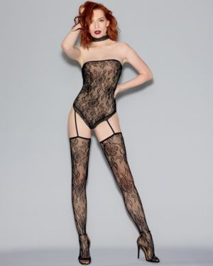 Dreamgirl Fishnet Lace Teddy Bodystocking with Attached Thigh Highs