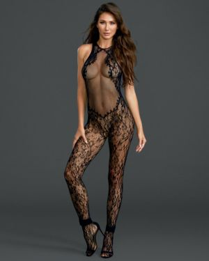 Dreamgirl Fishnet Floral High Neck Crotchless Bodystocking