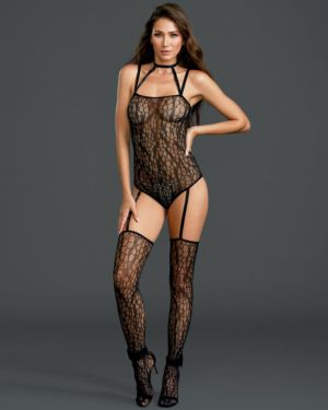 Dreamgirl Strappy Choker Net Teddy Bodystocking with Attached Thigh Highs