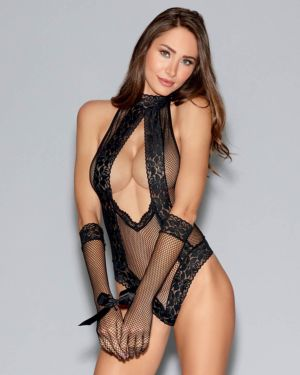 Dreamgirl Seamless Fishnet Collared Halter Teddy with Gloves and Tie-Restraint
