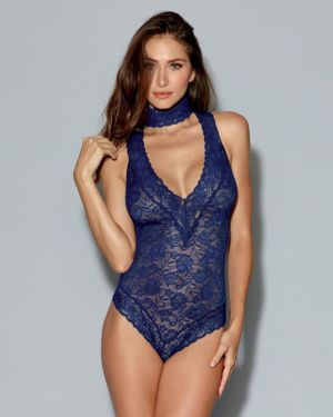 Dreamgirl Stretch Lace Collared Plunging Teddy with Back Zipper