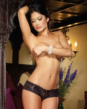 Dreamgirl Stretch Lace Low Rise Cheeky Hiphugger Panty with Scalloped Lace and Satin Bow Trim