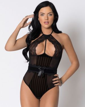 iCollection Halter Striped Mesh and Lace Underwire Velvet Waistband Teddy