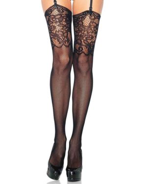 Leg Avenue Jacquard Lace Top Fishnet Thigh Highs
