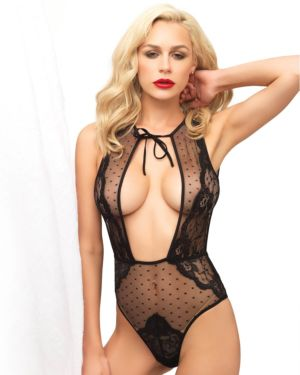 Leg Avenue Swiss Dot and Lace Keyhole T-Strap Back Teddy