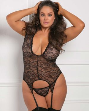 Rene Rofe Finest of All Plunging Plus Size Lace Garter Chemise with G-String Set